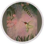 Graceful Hummingbird Round Beach Towel