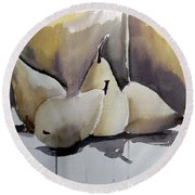 Graceful Pears Round Beach Towel by Mindy Newman