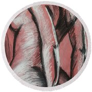 Graceful Pink - Nudes Gallery Round Beach Towel by Carmen Tyrrell