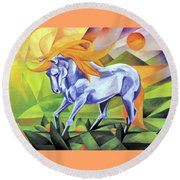 Graceful Stallion With Flaming Mane Round Beach Towel