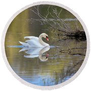 Graceful Swan Round Beach Towel