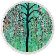Graceful Willow Print Round Beach Towel