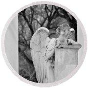 Graceland Cemetery Angel Round Beach Towel