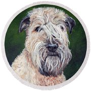 Gracie, Soft Coated Wheaten Terrier Round Beach Towel