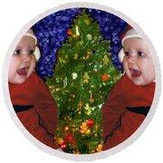 Gracies Christmas Tree Round Beach Towel