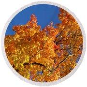 Gradient Autumn Tree Round Beach Towel