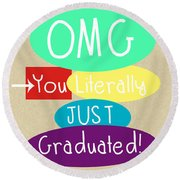 Graduation Card Round Beach Towel by Linda Woods