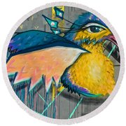 Graffiti Art Of A Colorful Bird Along Street IIn Hilly Valparaiso-chile Round Beach Towel