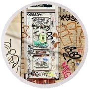 Graffiti Doorway New Orleans Round Beach Towel