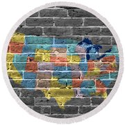 Graffiti  Map Of The United States Of America Round Beach Towel