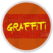 Graffiti Red Wall Round Beach Towel