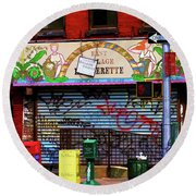 Graffiti Village Store Nyc Greenwich  Round Beach Towel