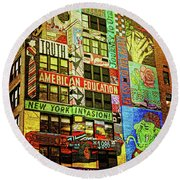 Graffitti On New York City Building Round Beach Towel