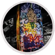 Grafitti Tunnel Round Beach Towel