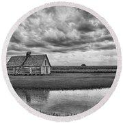 Grain Barn And Sky - Reflection Round Beach Towel