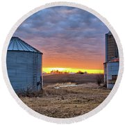 Grain Bin Sunset 2 Round Beach Towel