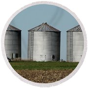 Grain Bins In A Row Round Beach Towel