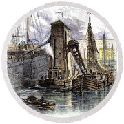 Grain Elevator, 1877 Round Beach Towel