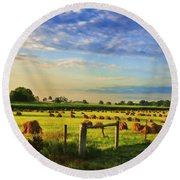 Grain In The Field Round Beach Towel
