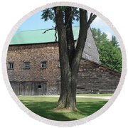 Grammie's Barn Through The Trees Round Beach Towel