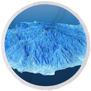 Gran Canaria Topographic Map 3d Landscape View Blue Color Round Beach Towel