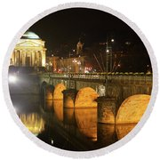 Gran Madre Church By Night In Turin, Italy Round Beach Towel