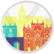 Granada Skyline Pop Round Beach Towel