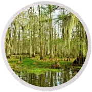Grand Bayou Swamp Round Beach Towel