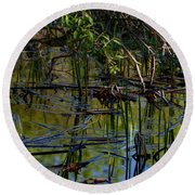 Grand Beach Marsh Round Beach Towel