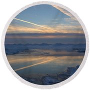 Grand Bend Winter Reflections 2 Round Beach Towel