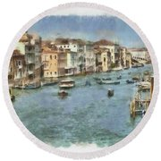 Grand Canal In Venice Round Beach Towel