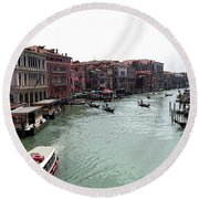 Grand Canal Venice Italy Round Beach Towel