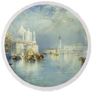 Grand Canal Venice Round Beach Towel by Thomas Moran