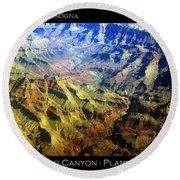 Grand Canyon Aerial View Round Beach Towel
