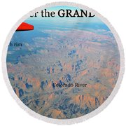 Grand Canyon Flight Round Beach Towel
