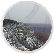Grand Canyon In Snow Round Beach Towel