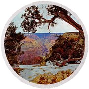 Grand Canyon National Park - Winter On South Rim Round Beach Towel