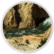Grand Canyon Of The Yellowstone 3 Round Beach Towel