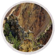 Grand Canyon Of The Yellowstone From North Rim Drive Round Beach Towel