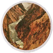 Grand Canyon Of The Yellowstone Vertical Panorama Round Beach Towel