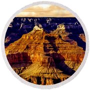 Grand Canyon Painting Sunset Round Beach Towel
