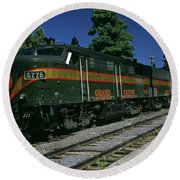Grand Canyon Railway Train Round Beach Towel