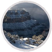 Grand Canyon Storm Round Beach Towel by Sandra Bronstein