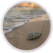 Grand Cayman Beach Coral At Sunset Round Beach Towel