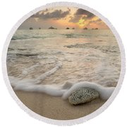Grand Cayman Beach Coral Waves At Sunset Round Beach Towel