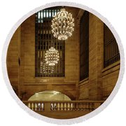Grand Central Terminal Light Reflections Round Beach Towel