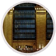 Grand Central Terminal Window Details Round Beach Towel