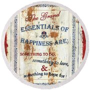 Grand Essentials Of Happiness Round Beach Towel
