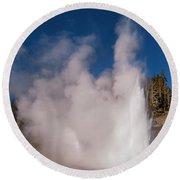 Grand Geyser Eruption Three Round Beach Towel