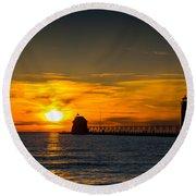 Grand Haven Sunset Round Beach Towel
